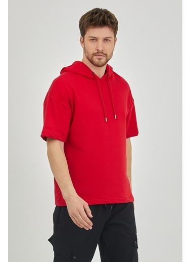 XHAN Ekru Kısa Kol Kapüşonlu Sweatshirt 1Kxe8-44654-52 Kırmızı